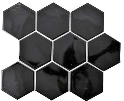 Mosaico de cerámica hexagonal negro brillante MOS11F-0301_f | 10 alfombrillas de mosaico
