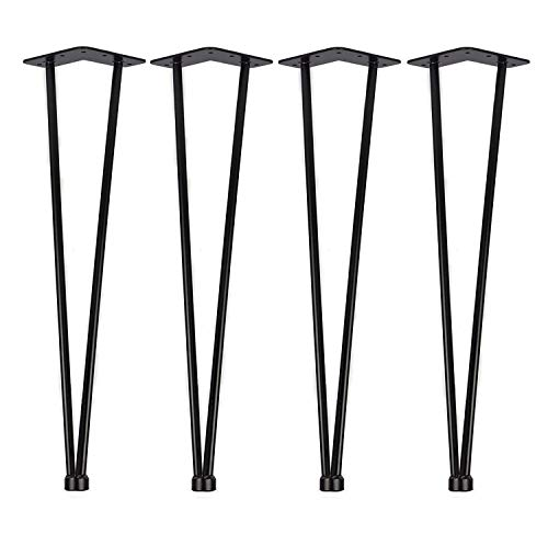 uyoyous 4x haarnadel tischbeine, Hairpin Legs 71cm, Tischgestell Metall Esstisch beine φ12mm für Couchtische Esstische Moderne Schreibtische - Schwarz, 2 Stangen