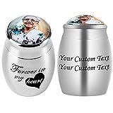 Bivei Personalized Mini Keepsake Urns - Custom Photo&Text Urn for Human Ashes...