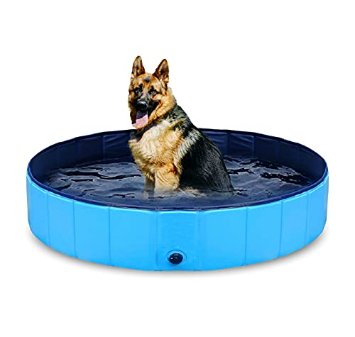 Tilz Gear Paddling Pool For Dogs - Plastic Foldable Kids Cat Dog Pool Portable Pet Swimming Pool Outdoor Play PVC Bathing Tub (S : (32