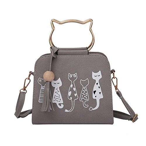 QinMM Tier Messenger Bag Frauen Handtaschen Katze Kaninchen Muster Schulter Umhängetasche Kosmetiktasche Kleine Mode Schwarz Grau Rosa (Grau)