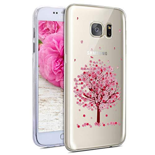 JAWSEU Funda Compatible con Samsung Galaxy S7 Transparente Suave TPU Silicona Gel Parachoques Protectivo Carcasa Ultra Delgado Cristal Claro Rosado Flores Diseño Anti-arañazos Funda-#4
