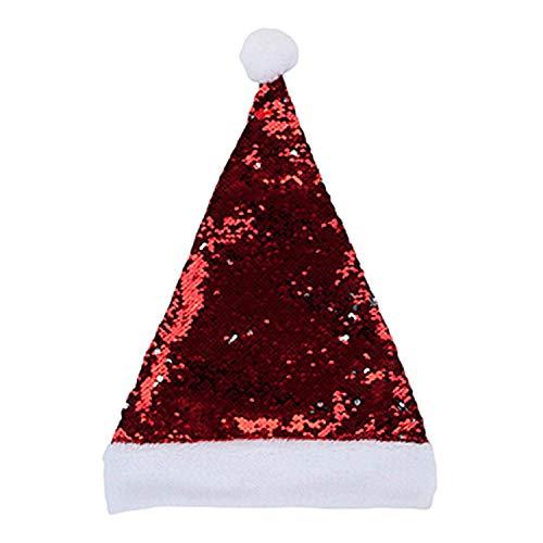Toyland Adult Pailletten Santa Hut - Reverse Pailletten Red & Silver - Weihnachtsmütze