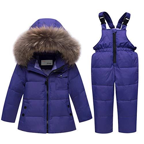 Kinder Schneeanzug Daunenjacke mit Kaputze + Schneelatzhose, Winter Bekleidungsset Jungen Mädchen Winterjacke und Daunenhose 2pcs Outfit Set, Violett 3-4 Jahre