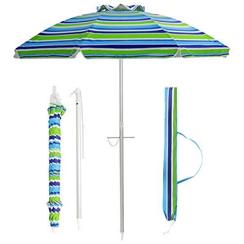 COSTWAY 200cm Sonnenschirm Strandschirm Marktschirm Gartenschirm neigbar Alu Terrassenschirm mit Tragetasche für Garten, Strand, Outdoor (Grün)