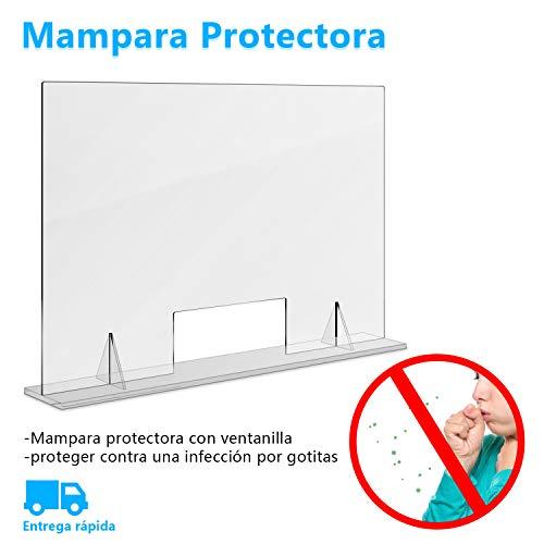 Mampara Protectora Mostrador en Metacrilato Horizontal 40 x 60cm con Ventanilla, Mampara de Protección de Estornudos Transparente