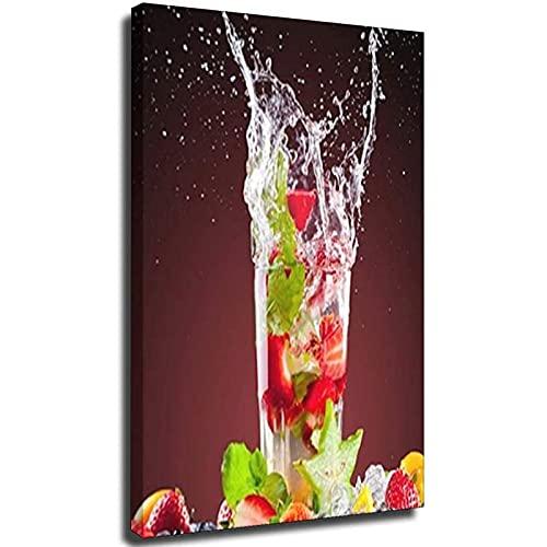 Lienzo con diseño de gota de agua de frutas en el cristal,...