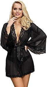 comeondear Mujer Lencería Bata de Encaje Talla Grande Ropa Interior Kimono Lace con Cinturón y Tanga(Negro, 3XL-4XL)