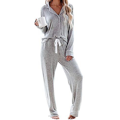 Pyjama Damen Nachthemd Schlafanzug Langärmliges Pyjama-Set Frühling Herbst Lässig Bequeme Gestrickte Nachtwäsche Damen Home Service Pyjama-Sets L Grau