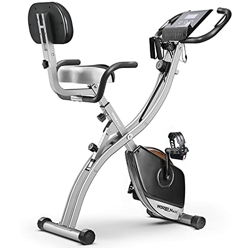 Folding Magnetic Exercise Bike, Upright Recumbent Indoor Workout Bike with Front and Back Arm Resistance Bands LCD Monitor