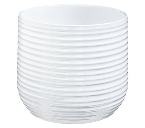 Dehner Premium Übertopf, Ø 23 cm, Höhe 22 cm, Keramik, weiß