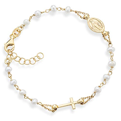 MiaBella 18K Gold over 925 Sterling Silver Handmade Italian 3.5-4mm White Cultured Freshwater Pearl Rosary Cross Charm Bead Bracelet for Women Teen Girls, Adjustable Link Chain 6 to 8 Inch 925 Italy (6