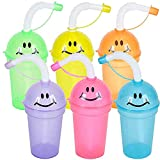 ArtCreativity Smile Face Sippy Cups with Straws & Lids, Set of 12, Fun Assorted Colors, 7 oz Plastic Party Sipper Cups for Kids, Neon Party Favors for Children, Birthday Supplies & Goodie Bag Fillers