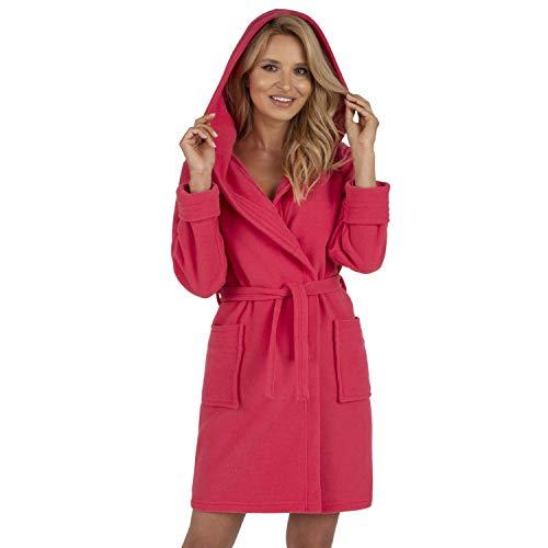 Vivisence Dame Bademantel Nachtwäsche Kapuze Taschen Langarm 5016 Robe, In EU Hergestellt, Pink,S
