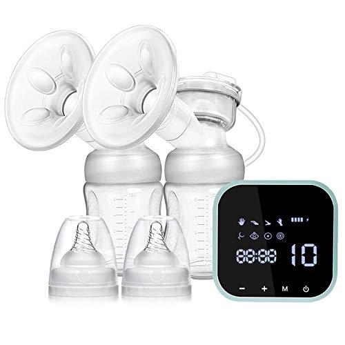SUMGOTT Elektrische Milchpumpe, Doppel-Stillpumpe Elektrische Brustpumpe mit Touchscreen Wiederaufladbares 8 Modi & 10 Stufen