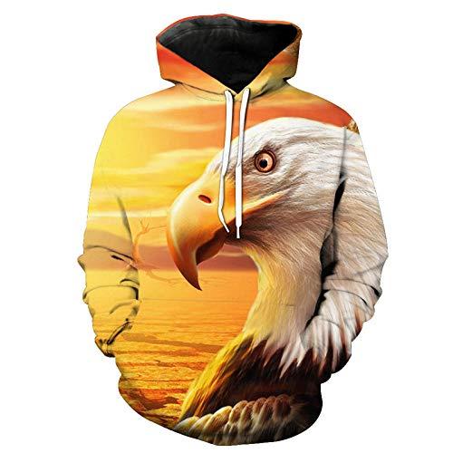 Sweater met capuchon, heren, adelaar, 3D-digitale print, hoodie met kangoeroezak, pullover, unisex sporthoodie met trekkoord