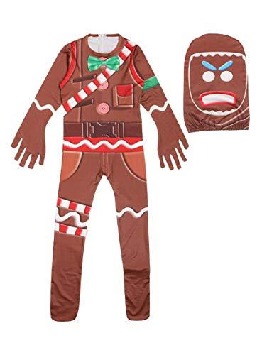 MingoTor Lebkuchenmann Jumpsuit Bodysuit Catsuit Overall Halloween Cosplay Kostüm Kinder Jungen Braun 160