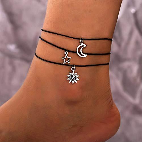 Anglacesmade Tobillera de cuero bohemio, con diseño de estrella de sol y luna, 3 piezas, para playa, boda, joyería bohemia, para mujeres y niñas