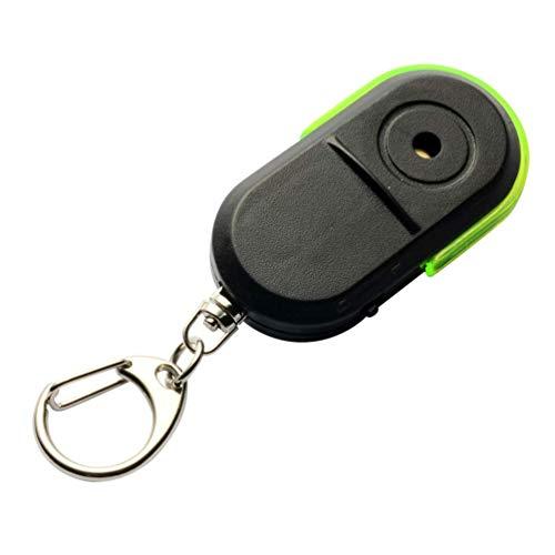 Buscador de llaves, Buscador de llaveros con alarma y luz LED, inalámbrico, antipérdida, con silbato (verde)