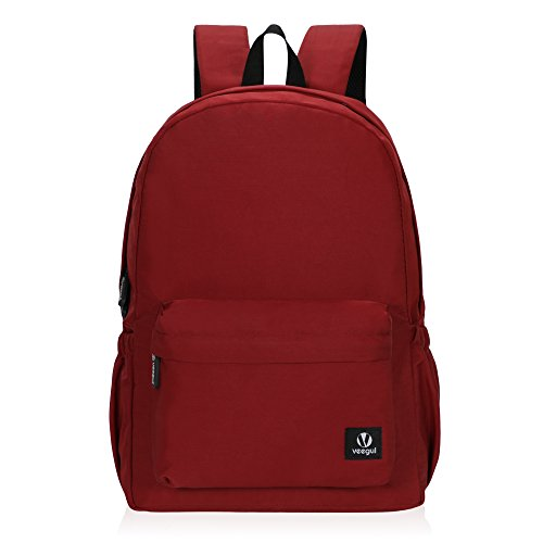 Hynes Eagle Lightweight School Backpack Classic Bookbag for Girls Boys Wine Red