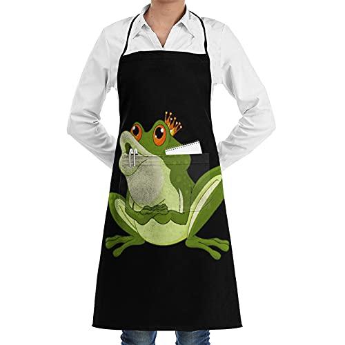 LOSNINA Delantal de cocina Impermeable y antiincrustante para hombres delantal de chef para mujeres restaurante de jardinería barbacoa cocinar hornear,Rana Príncipe Verde Con Corona