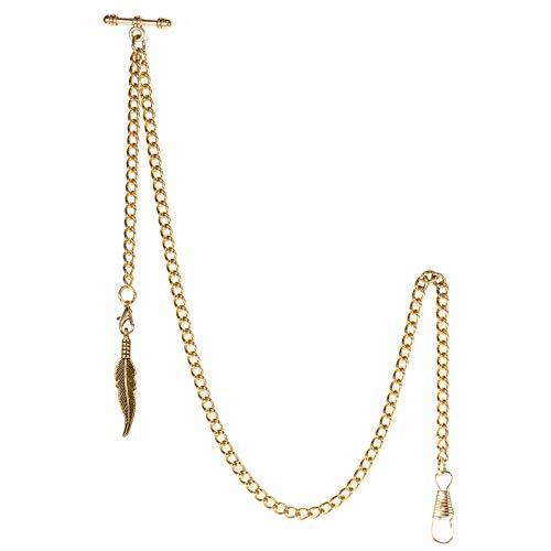TREEWETO Albert - Reloj de bolsillo con cadena para hombre, 2 ganchos, diseño de hoja de oro envejecido, barra en T