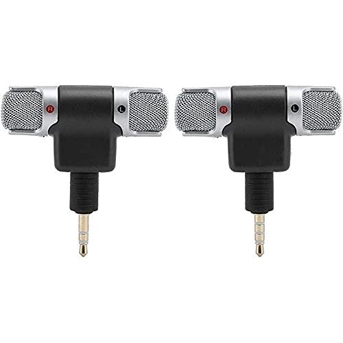 Yuyanshop Mini micrófono 3.5mm Jack Mini micrófono estéreo Dual Channel Wireless Mic para teléfono móvil Tablet