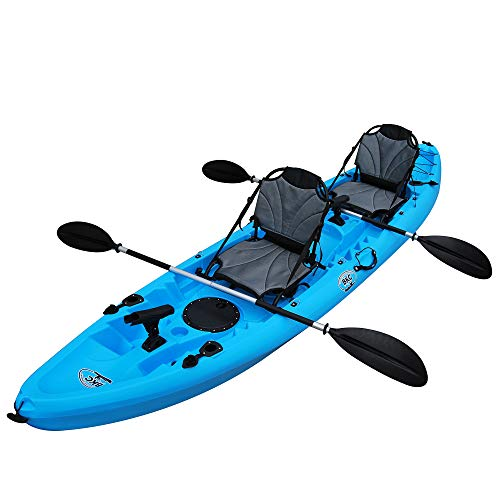 BKC TK219 12.5-Foot Tandem 2 or 3 Person Sit On Top Fishing Kayak w/Upright Aluminum Frame Seats and Paddles (Blue)
