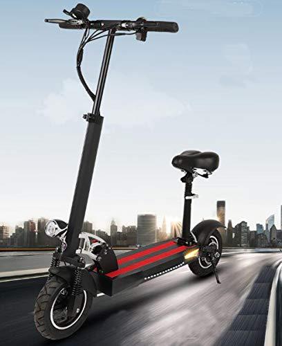 NANXCYR Elettrico Pieghevole Offroad motorino, Adulti 10 Pollici Città Bici elettrica E-Scooter con Ammortizzante sede Sirena HD Display velocità Massima 40 km/h, Max 70 km Long Range,70km