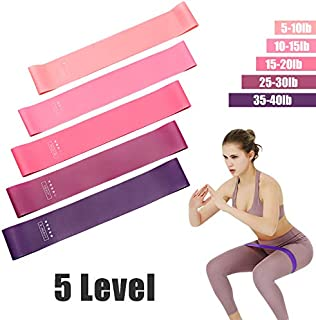Resistance bands Set, 5 Level Rubber Training Home Workout for Fitness, Stretching, Pilates, Crossfit, Yoga, Flexbands