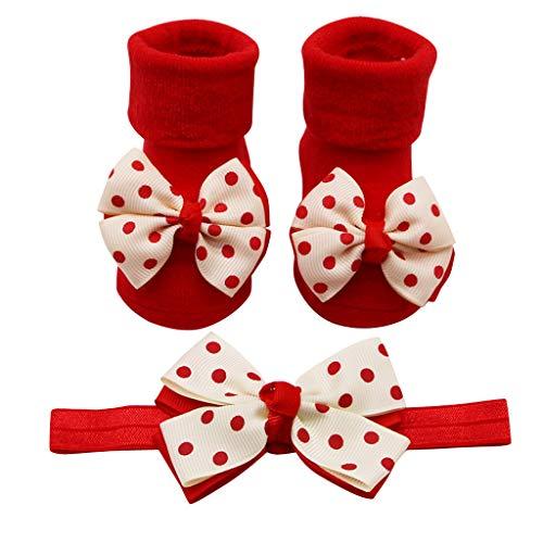 HUI.HUI Antidérapante Chaussette Chaussettes Point d'onde en Bowknot Nouveau-nées Coton Hiver Garçon Fille Bande de cheveux Appliques éponge Socquettes Socks