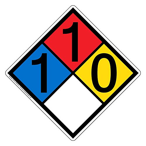 ComplianceSigns NFPA 704 1-1-0-0 Label Decal, 15 in. Vinyl for Hazmat, Made in USA