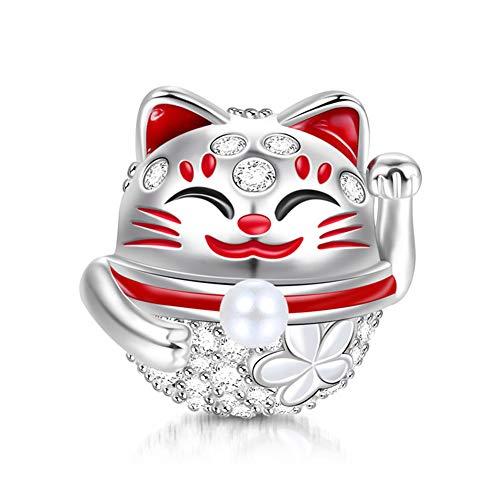 GNOCE Femme Charms de Chat Porte-Bonheur en Argent Sterling 925'Bonne Chance Breloque Compatible avec Bracelets et Colliers