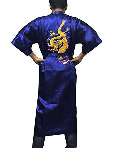 YL Homme Peignoir de Bain Kimono Souple Robe de Chambre Vêtement de Nuit Bordé de Dragon avec Ceinture 6 Couleurs (Bleu)