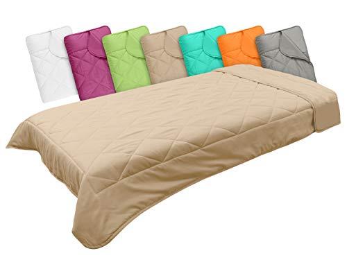 Leichtsteppbett in 3 Größen und in 7 modernen Farben, ca. 135 x 200 cm, Cappuccino