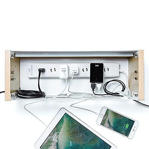 サンワダイレクトケーブルボックスタップ収納ボックススマホスタンド機能充電ステーション木目柄ライトブラウン200-CB006LM