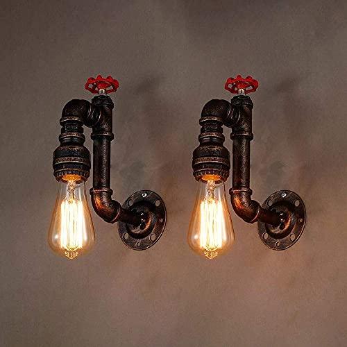 WEM Lámparas de pared, lámpara de pared industrial retro, lámpara de lavado de pared de tubería de agua de metal vintage, accesorio de iluminación interior de decoración nostalgia, apliques de pared