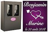 2 Flûtes à Champagne Gravées Modèle Cœur Eros avec Boîte Cadeau - Cadeau de Mariage pour Les Mariés - Cadeau Repas de Mariage, Invité au vin d'honneur, Anniversaire de Mariage