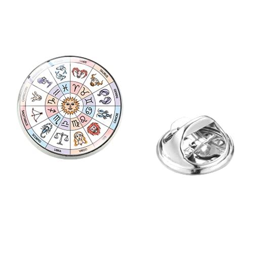 12 signo del zodiaco horóscopo astrología acero inoxidable Pin bruja constelaciones brújula broches bolsa camisa solapa alfileres hebilla