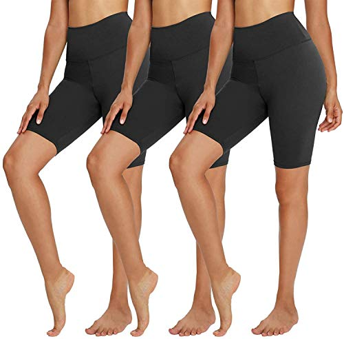 TNNZEET Damen Kurze Leggings Hohe Taille Shorts Blickdicht Radlerhose Hotpants Kurze Hose Bauchkontrolle Unterhose Atmungsaktive Boxershorts 3er Pack Schwarz/Schwarz/Schwarz, 48-54
