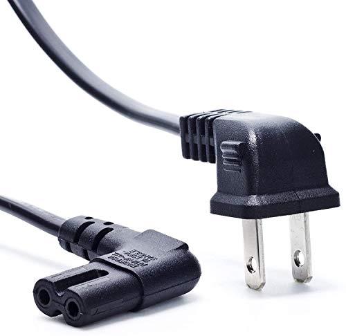 TV Power Cord, Ancable 6-Feet 18AWG 90 Degree Angled 2-Prong to L-Shaped C7 Power Cord for Samsung Philips Toshiba LG Sony Sharp Panasonic Vizio LED Flat TV Sky Box, Sky Plus+ HD Box