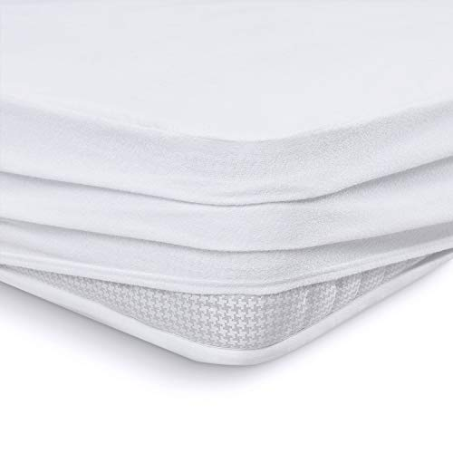 Melunda Protector de colchón Impermeable con Esquinas elásticas - 160 x 200 cm - Protector de colchón de algodón Anti-alérgico dermatológicamente Probado