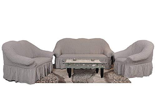My Palace Stretch Sofabezüge 1er + 2er + 3er in grau (Stretchhusse, Sofa-Husse, Sofabezug) / Sofabezug IKEA/sofabezuege 3 2 1 / sofabezug groß/Garnituren Cover