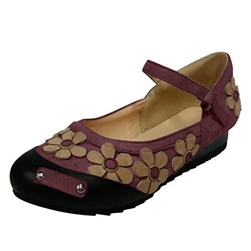 Sandales Bout Rond Boucle Sangle Femmes ModeFloral Plat Romain Chaussures