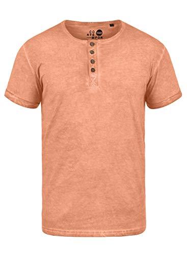 !Solid Tihn Camiseta Básica De Manga Corta T-Shirt para Hombre con Cuello Grandad De 100% algodón, tamaño:M, Color:Mahog. Rose (4203)