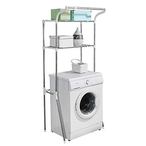 BAOYOUNI Adjustable Over Toilet Bathroom Organizer Above Washer Dryer Storage Shelf 2-Tier Space Saving Rack (24.4-40.55) W X 19.48 D X 68.11 H Inches, White