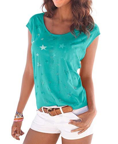 Uniquestyle Damen Sommer T-Shirt Kurzarmshirt mit Sternen Druck Rundhals Lässige Stretch Bluse Tops Oberteil Shirts Mint XXL