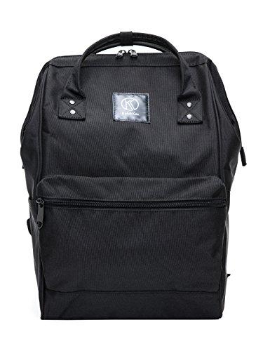 Kah&Kee Polyester Travel Backpack Functional Anti-theft School Laptop for Women Men (Black, Large)