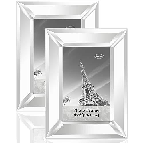 meetart Verspiegelter Spiegeln Spiegelrahmen Spiegel-Fotorahmen Glasscheibe Bilderrahmen Objektrahmen Modern Format 10x15cm 2 Stück Packung zum Hauptdekoration Wandbehang oder Tischdisplay