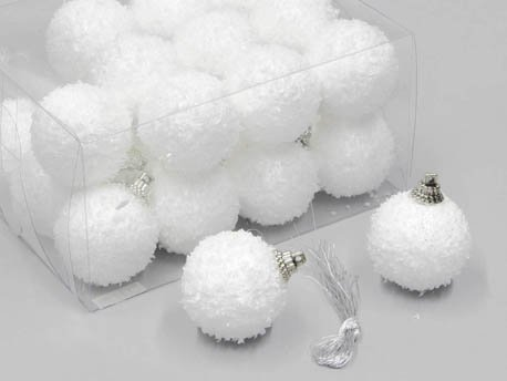 Weihnachtskugeln Schneeball weiss mit Schnee beschneit Schneekugeln (5cm)